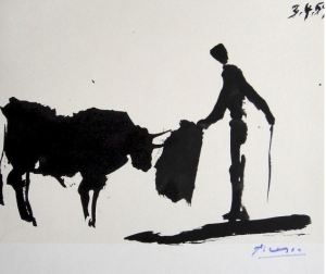 Ink sketch of bullfighter - Picasso 1959